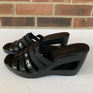Alfani black patent leather slip on wedge sandals